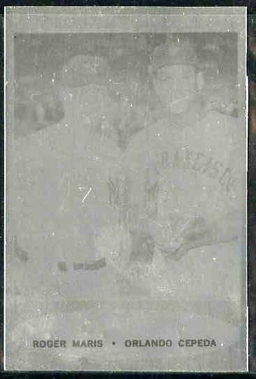 1962 Topps ALUMINUM PRINT PLATE #401 Roger Maris/Orlando Cepeda Baseball cards value