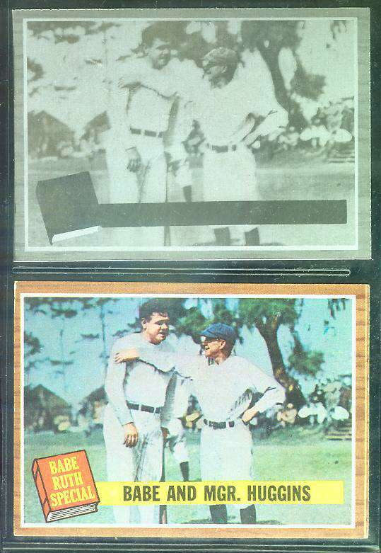 1962 Topps ALUMINUM PRINT PLATE #137 BABE RUTH with regular Topps card Baseball cards value