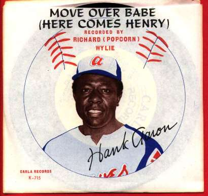 1973 HANK AARON 'Move Over Babe - Here Comes Hery' 45 RPM record !!! Baseball cards value