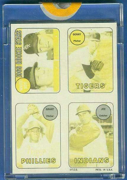 1969 Topps 4-in-1 STICKER PROOF Yellow/Black - DENNY McLAIN & Grant Jackson Baseball cards value