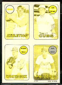 1969 Topps 4-in-1 STICKER PROOF Black/White - LEO DUROCHER & Vida Blue Baseball cards value