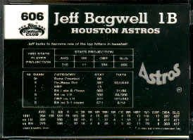 1992 Topps Stadium Club #606 card back PLATE NEGATIVE - Jeff Bagwell Baseball cards value
