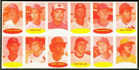 1974 Topps Stamps PROOF SHEET Cyan/Yellow - ROD CAREW/CATFISH HUNTER Baseball cards value