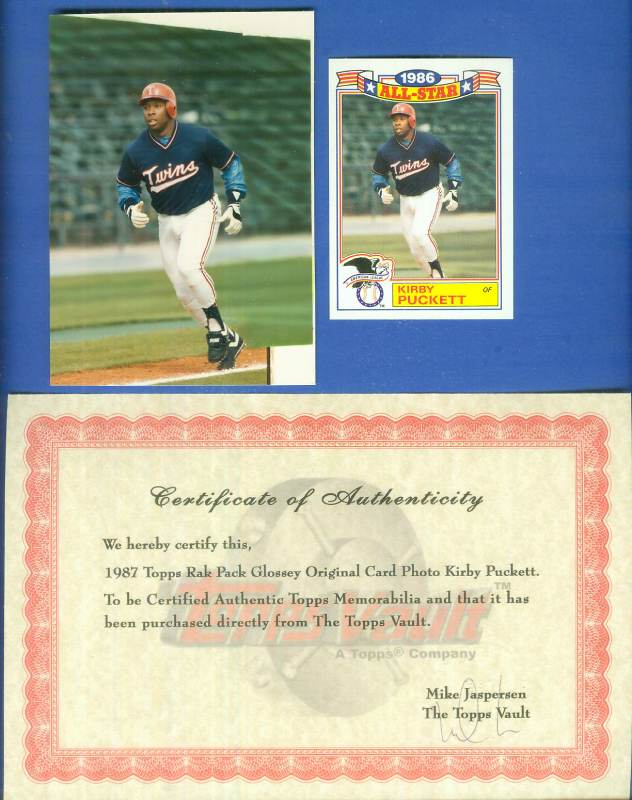 1987 Topps Rak Pack Glossy ORIGINAL PHOTO PROOF - KIRBY PUCKETT Baseball cards value