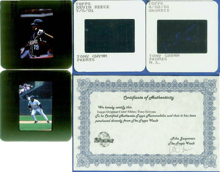 TONY GWYNN - Topps ORIGINAL Color Slides - 2 different slides [#1] Baseball cards value