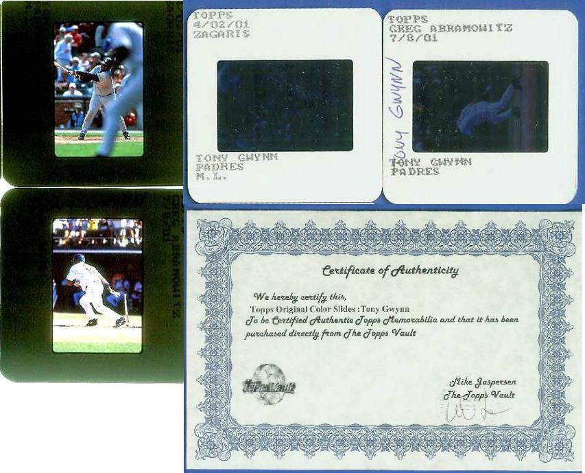 TONY GWYNN - Topps ORIGINAL Color Slides - 2 different slides [#2] Baseball cards value