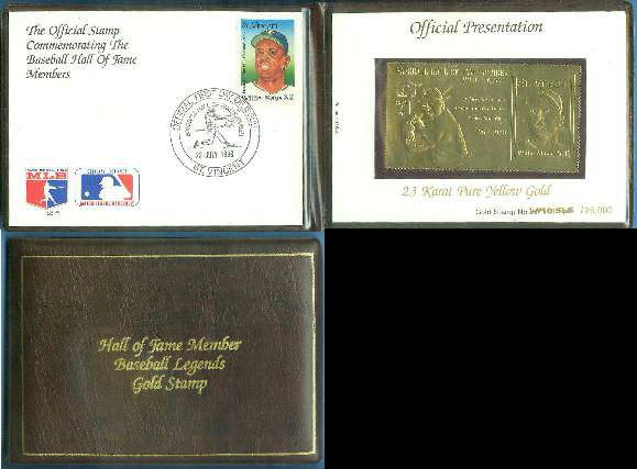 WILLIE MAYS - 23 KARAT PURE GOLD Hall-of-Fame Baseball Legends Stamp Baseball cards value
