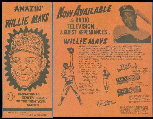 WILLIE MAYS - Early 1950's 'Amazin' Willie Mays' Promotional Pamplet Baseball cards value