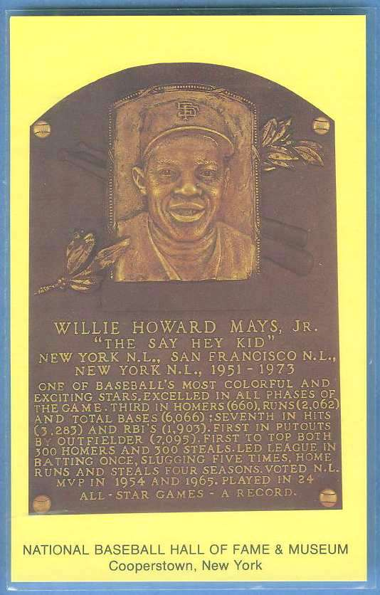 WILLIE MAYS - Cooperstown Hall of Fame Yellow Postcard Baseball cards value