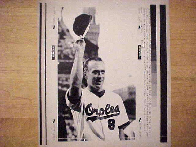 WIREPHOTO: Cal Ripken - {08/24/92} 'Five More Years' (Orioles) Baseball cards value