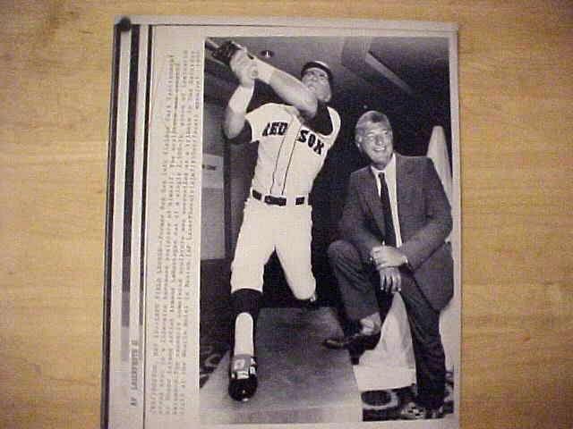 WIREPHOTO: Carl Yastrzemski - {05/12/90} 'Left Field Legend' (Red Sox) Baseball cards value
