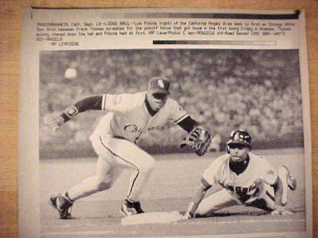 WIREPHOTO: Frank Thomas - {09/13/91} 'Loose Ball' (White Sox) Baseball cards value