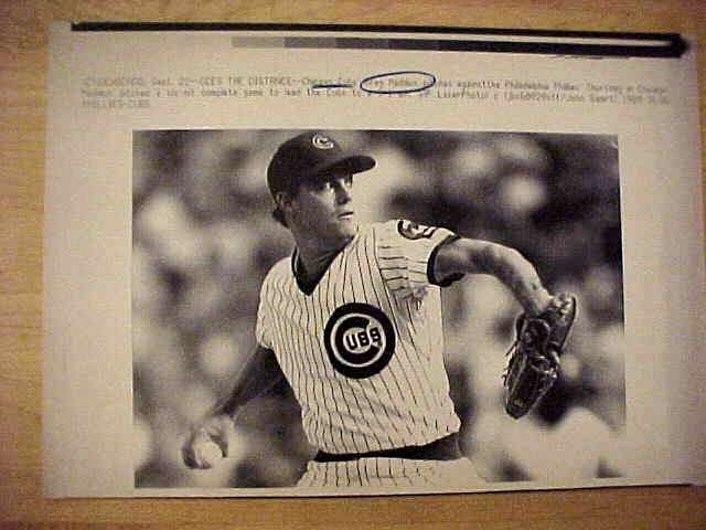 WIREPHOTO: Greg Maddux - {09/22/89} 'Six Hitter!' (Cubs) Baseball cards value
