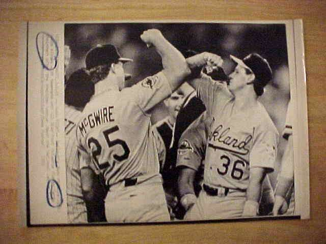 WIREPHOTO: Mark McGwire - {07/12/88} 'Awww Right!' (Athletics) Baseball cards value