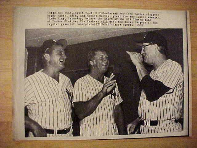 WIREPHOTO: Mickey Mantle - {08/07/82} 'Hi Clyde' (Yankees) Baseball cards value