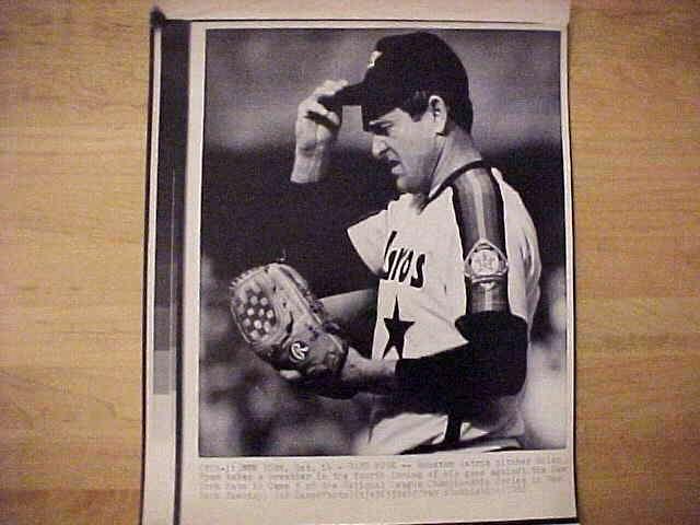 WIREPHOTO: Nolan Ryan - {10/14/86} 'Hard Work' (Astros) Baseball cards value