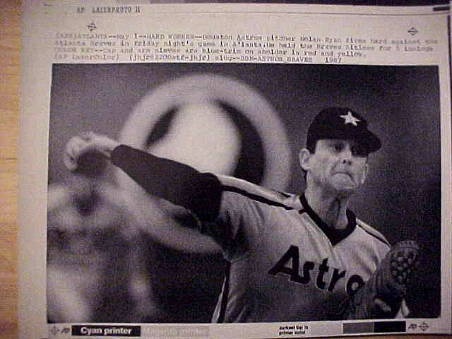 WIREPHOTO: Nolan Ryan - {05/01/87} 'Hard Worker' (Astros) Baseball cards value