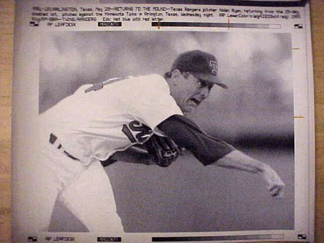 WIREPHOTO: Nolan Ryan - {05/29/91} 'Returns To The Mound' (Rangers) Baseball cards value