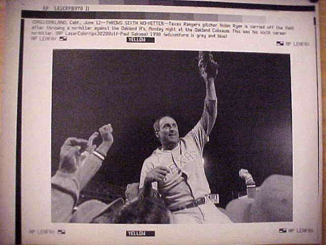 WIREPHOTO: Nolan Ryan - {06/12/90} 'Throws Sixth No-Hitter' (Rangers) Baseball cards value