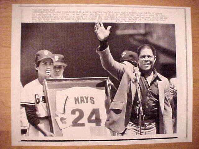 WIREPHOTO: Willie Mays - {08/20/83} 'Uniform Retired' (Giants) Baseball cards value