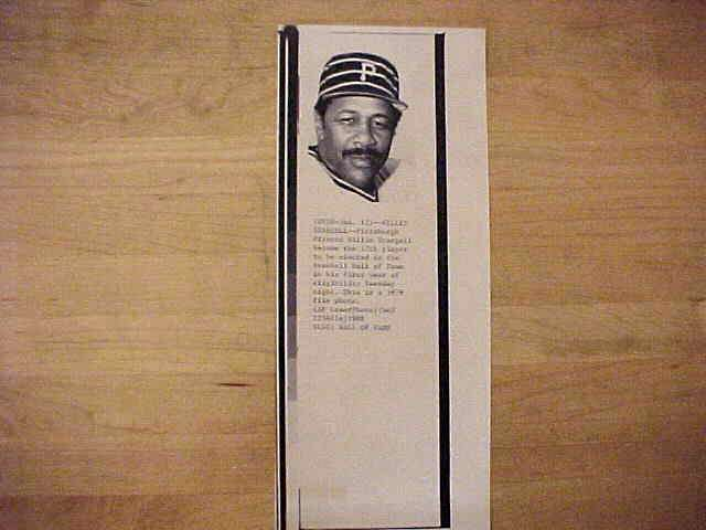 WIREPHOTO: Willie Stargell - {01/12/88} 'Hall Of Fame' (Pirates) Baseball cards value