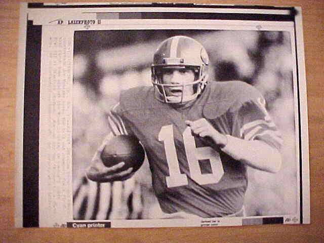 WIREPHOTO: Joe Montana - {01/21/85} 'Joltin' Joe' (49ers) Football cards value