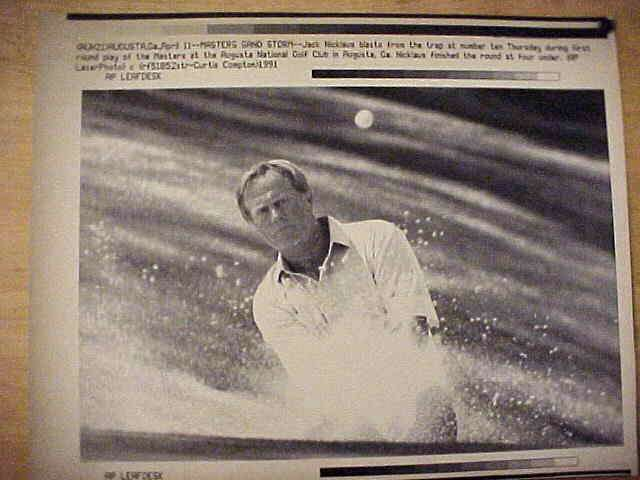 WIREPHOTO {Golf}: Jack Nicklaus - {04/11/91} 'Masters Sand Storm' Golf cards value