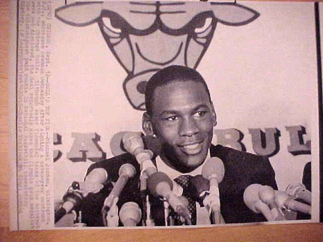 WIREPHOTO: Michael Jordan - {09/12/84} 'Bulls' Top Pick' (Bulls) Basketball cards value