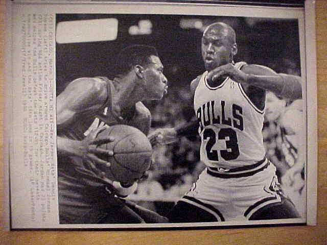 WIREPHOTO: Michael Jordan - {03/03/90} 'Outta My Way' (Bulls) Basketball cards value