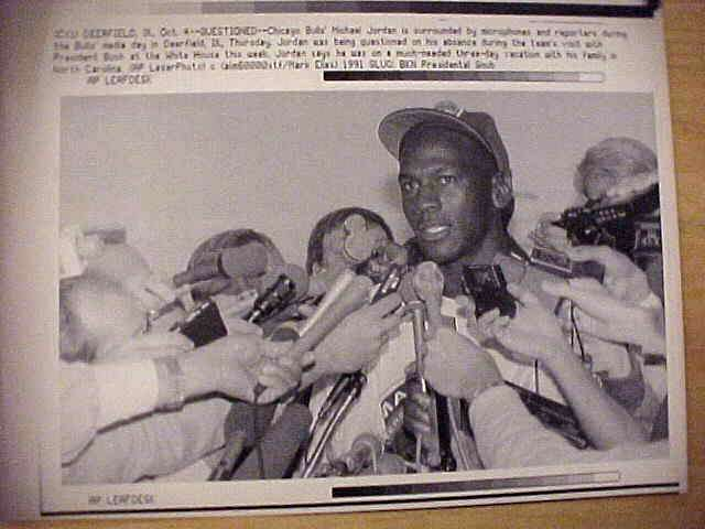 WIREPHOTO: Michael Jordan - {10/04/91} 'Questioned' (Bulls) Basketball cards value
