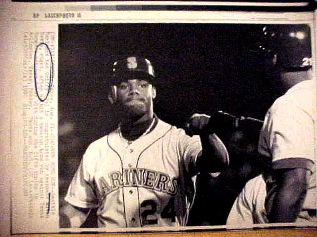 WIREPHOTO: Ken Griffey Jr - {08/21/90} 'Two-Run Homer' (Mariners) Baseball cards value