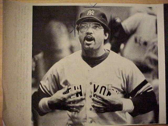 WIREPHOTO: Reggie Jackson - {07/05/80} 'What, Me Worry?' (Yankees) Baseball cards value