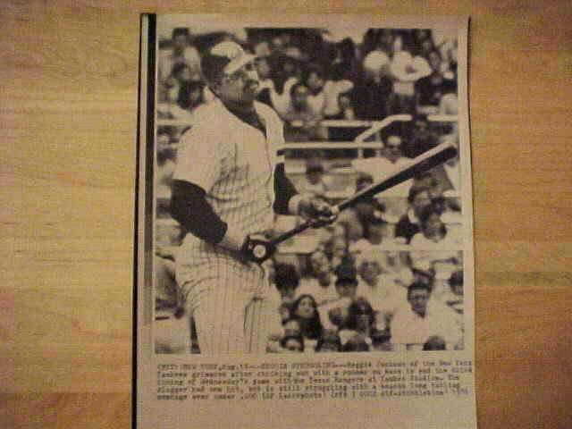 WIREPHOTO: Reggie Jackson - {08/13/81} 'Struggling' (Yankees) Baseball cards value