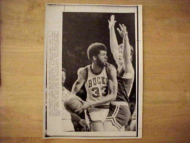 WIREPHOTO: Kareem Abdul-Jabbar - {10/18/73} 'The Hook!' (Bucks) Basketball cards value
