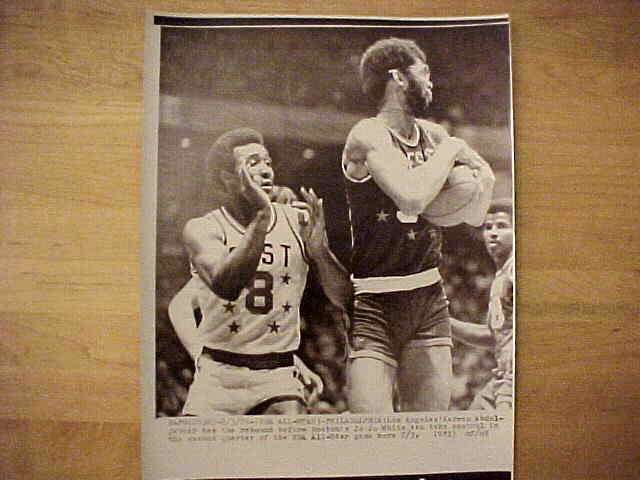 WIREPHOTO: Kareem Abdul-Jabbar - {01/24/77} 'Dominating' (Lakers) Basketball cards value