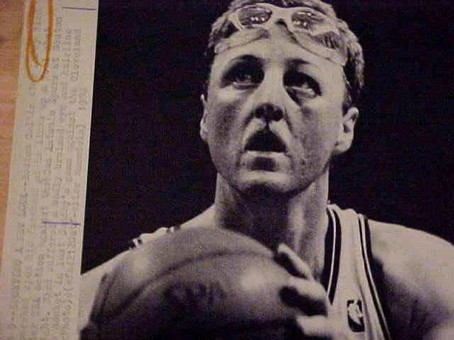 WIREPHOTO: Larry Bird - {03/09/88} 'Sporting A New Look' (Celtics) Basketball cards value