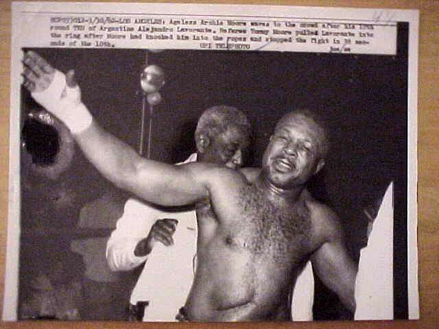 WIREPHOTO {Boxing}: Archie Moore - {03/30/62} 'Ageless' Boxing cards value