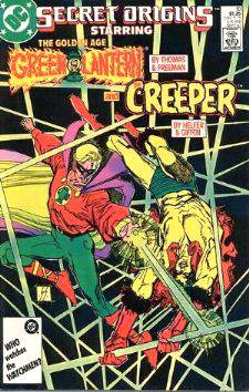 Comic: Secret Origins #18 The GOLDEN AGE GREEN LANTERN and The CREEPER Baseball cards value