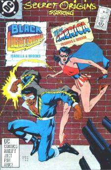 Comic: Secret Origins #26 BLACK LIGHTNING and MISS AMERICA Baseball cards value