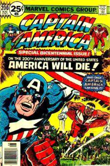 Comic: CAPTAIN AMERICA  and FALCON #200 (SPECIAL BICENTENNIAL ISSUE!) Baseball cards value