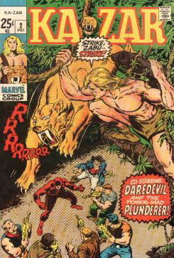 Comic: KAZAR #.2 (1970) (Co-Starring DAREDEVIL) Baseball cards value