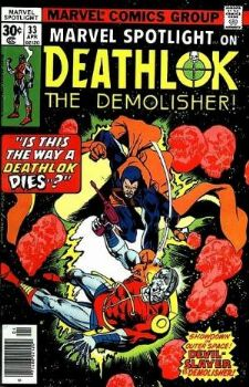 Comic: Marvel Spotlight #33 on DEATHLOK (LAST ISSUE 1977) Baseball cards value
