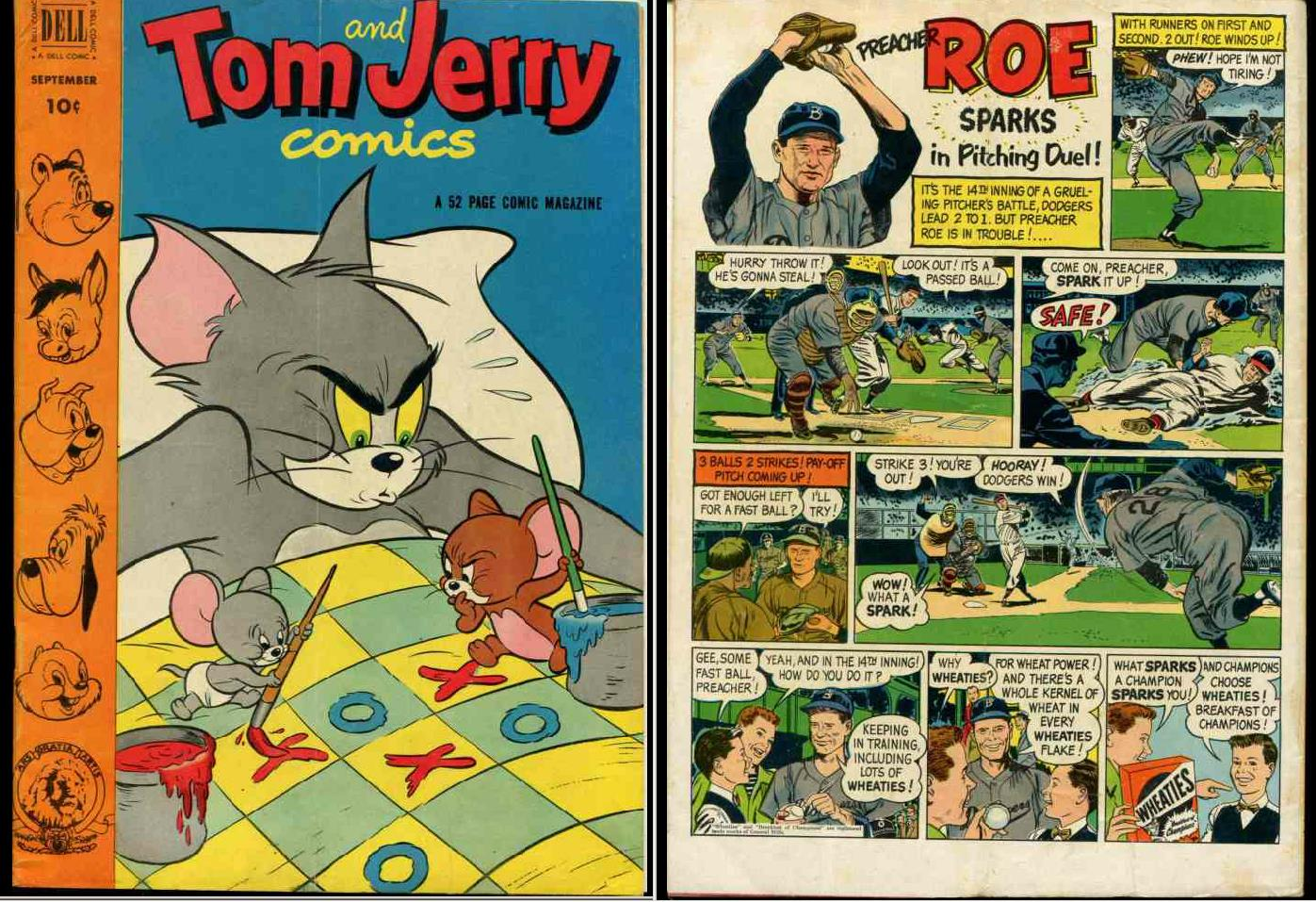 Comic: DELL 1952 - PREACHER ROE AD back TOM & JERRY #98 (10 cents) Baseball cards value