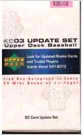 2003 Upper Deck UPDATE - in FACTORY Box (60 cards) Baseball cards value