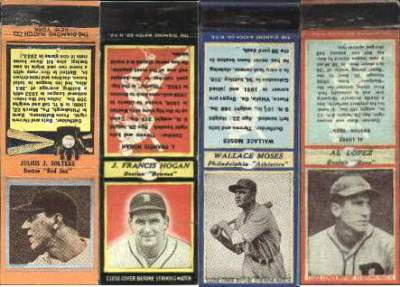 1935-1937 Diamond Match Co. Matchbooks  Baseball card front