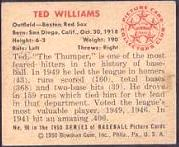 1950 Bowman Baseball card back
