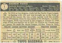 1952 Topps Baseball card back