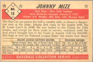 1953 Bowman Black/White Baseball card back