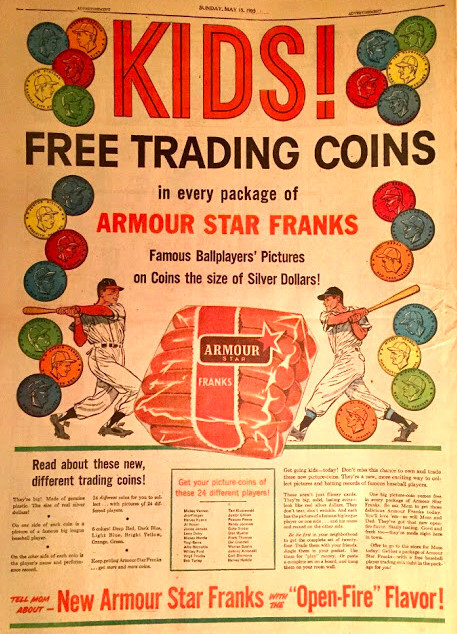 1955 Armour baseball Coins ad