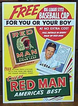 1952,1953,1954,1955 Red Man  Baseball card front